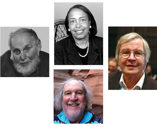 Arthur Ashkin (left, courtesy Bengt Nyman) Patricia Bath (top middle, courtesy National Library of Medicine) Jack Jewell (bottom middle) Theodor Hänsch (right, courtesy of Markus Posse)