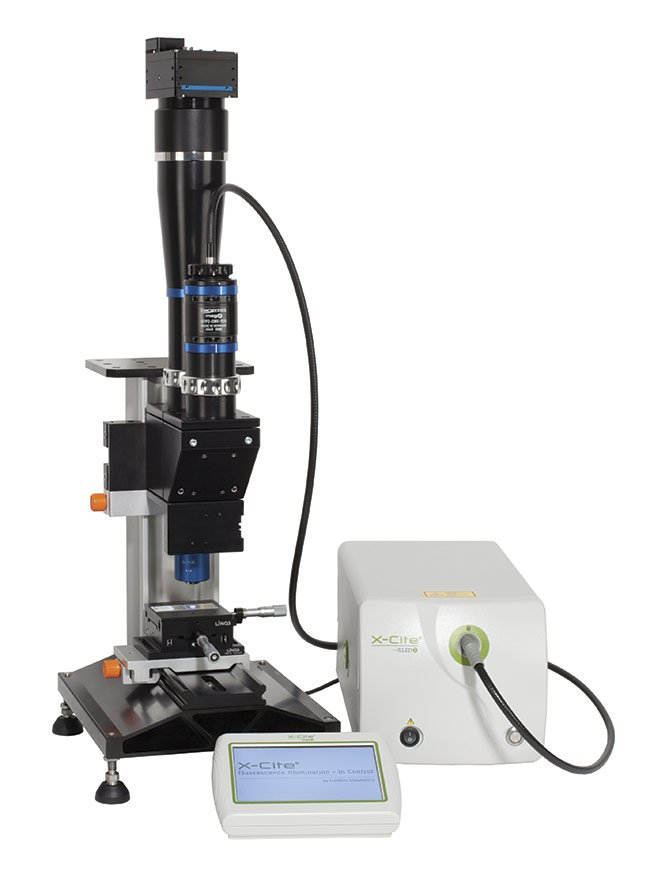 This system illustrates a highly specialized fusion between inspection optics and a microscope, enabling inspection with submicron resolution across large fields of view. Courtesy of Excelitas Technologies Corp.