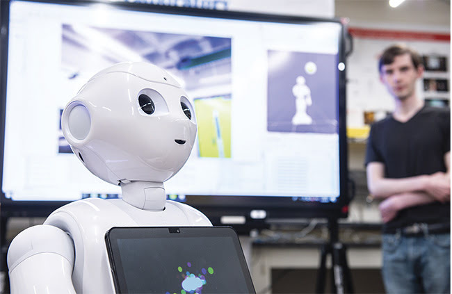 The computer screen on Pepper's chest can be programmed to display various content during interactions, such as information about what the robot is seeing in real time. Courtesy of Rensselaer Polytechnic Institute.