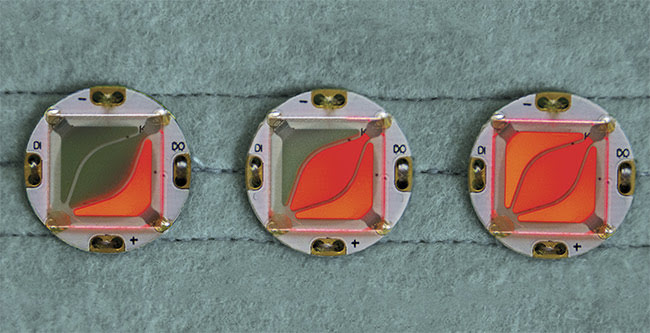 Figure 3. O-BUTTONs with three individually addressable segments. Courtesy of Fraunhofer FEP.