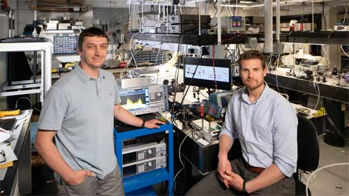 Gerard Wysocki (left), an associate professor of electrical engineering, and Jonas Westberg, an associate research scholar, helped create a new terahertz imaging system that represents a major step toward developing portable scanners that could rapidly measure molecules in pharmaceuticals or classify tissue in patients' skin. Courtesy of David Kelly Crow. Princeton University.