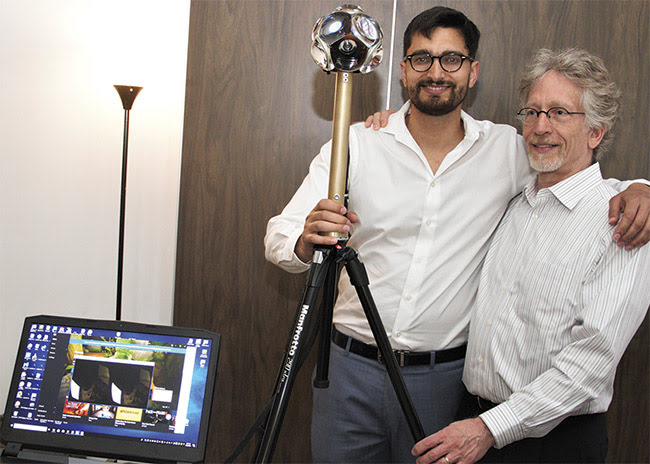 Zak Niazi (left), CEO of Circle Optics, and Allen Krisiloff, systems engineer, with their parallax-free 360° camera at Light and Sound Interactive 2019.