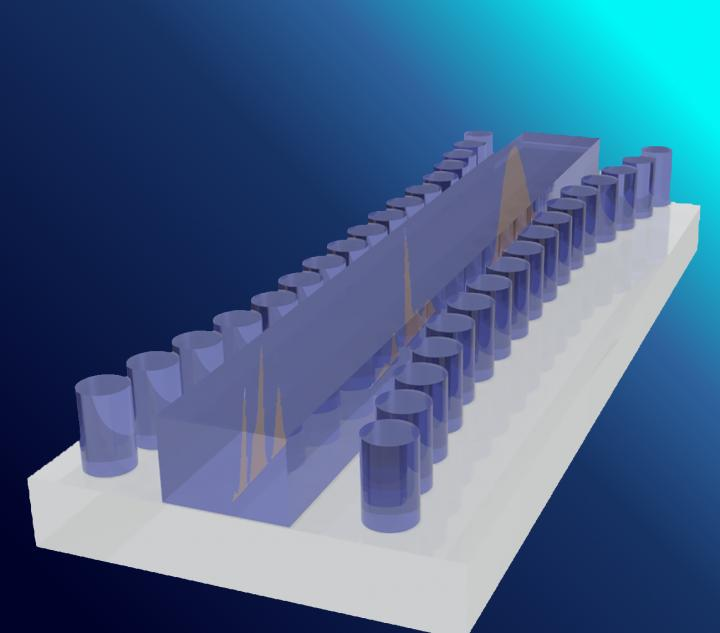 Artist's impression of the Bragg gated structure on a silicon substrate. Courtesy of the University of Sydney and Singapore University of Technology and Design.