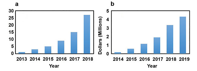 Figure 1. Number of scientific publications on VIS-OCT. Data obtained from Web of Science and Google Scholar (a). Annual NIH research support for VIS-OCT awarded by the end of 2018. Data obtained from NIH RePORT (b).