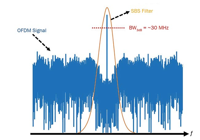 Figure 2. Filtering of a SCO-OFDM signal carrier with a carrier guard band of ~256 MHz using SBS. BW: bandwidth. Images adapted from Reference 5 and courtesy of Amol Choudhary and Elias Giacoumidis.