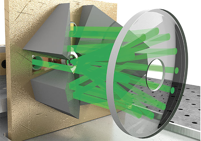 Figure 1. A conceptual illustration of a thin-disk laser head, showing the disk and the many reflections of the pump beam onto the disk. Adapted from Reference 2. Courtesy of Ursula Keller Group.