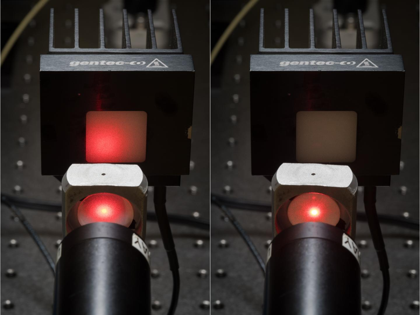 Optical transmission through a transparent ceramic (left) vs. a traditional opaque ceramic (right). Courtesy of David Baillot/UC San Diego Jacobs School of Engineering.