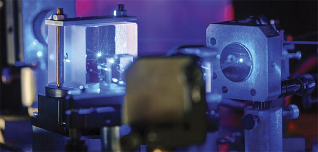 Blue laser in a quantum optics lab.