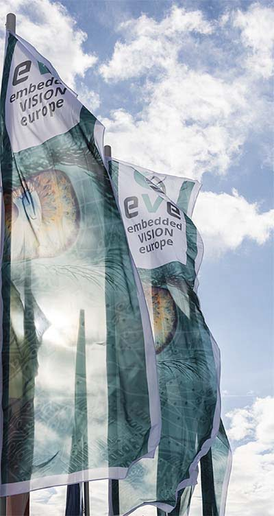 Embedded VISION Europe flags greet guests in 2017 as they arrive at the ICS International Congress Center Stuttgart. Courtesy of the European Machine Vision Association (EMVA).