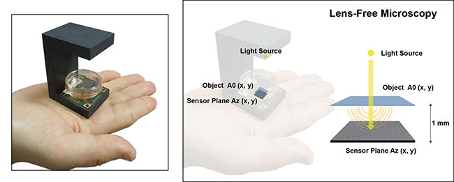 A lens-free microscope consists of a semicoherent light source illuminating an object that sits directly atop an image sensor, a design that gives rise to holograms that can be reconstructed into images. Courtesy of CEA-Leti.
