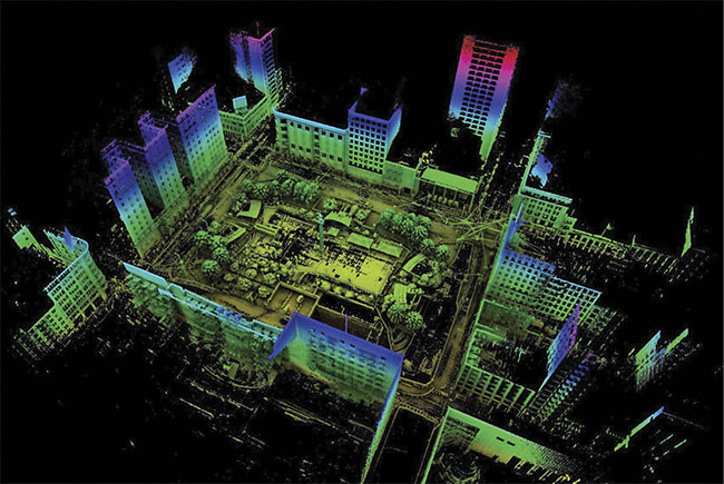 Figure 2. The Puck lidar module from Velodyne can create a 3D image of a landing environment, even in the dark. This image looks down on a city scene of San Francisco's Union Square. Courtesy of Velodyne/SLAM Data by Emescent.