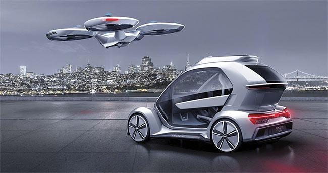 Figure 3. The Pop.Up Next flying car, scheduled for testing in 2020, is a modular two-passenger pod that latches interchangeably to an Audi wheelbase and a drone-like set of rotors for urban air mobility. Courtesy of Italdesign/Airbus/Audi.
