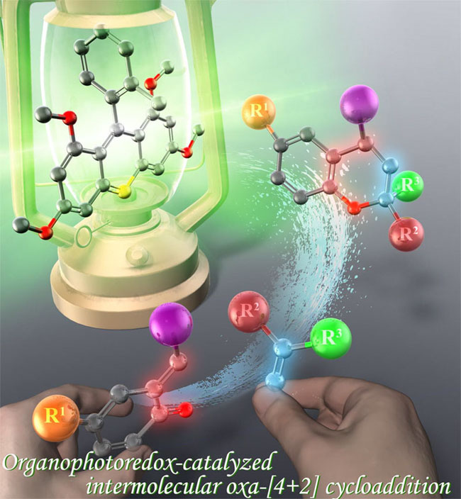 The picture illustrates the green-light-driven production of oxygen heterocycles. Courtesy of Yokohama National University.