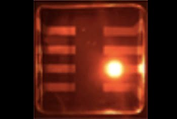 These are colloidal quantum dots operating in LED mode. Courtesy of Los Alamos National Laboratory.