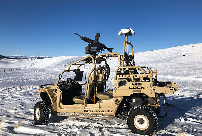 The Nikola Reckless UTV (utility task vehicle) from AimLock is a prototype drone vehicle that uses metamaterial-based radar for detection, tracking, and targeting. Courtesy of Echodyne and AimLock.