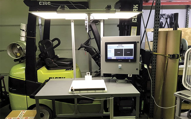 Using two cameras, a mobile inspection station increases productivity and reduces rejection of A-arms in automobile suspension steering assemblies. Courtesy of Teledyne DALSA.