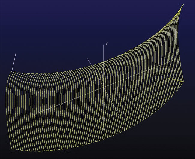 Machine simulation of a raster mode tool path (top). Tool path for raster mode machining (bottom). Production of freeform surfaces, in contrast to that of spherical lenses, is much more complex and requires a point contact between tool and workpiece. This, in turn, requires some overlap to ensure minimum removal. Smaller overlaps between workpiece and tool, however, increase the potential for transitions to adversely affect surface quality and the accuracy of the geometry. Due to the point contact, the lens must be machined in a raster mode, which requires care to ensure that the machining direction or the individual lines are not reflected in the workpiece. Courtesy of Satisloh.