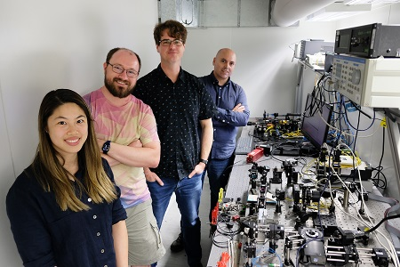 In the photonics lab at the Sydney Nanoscience Hub, University of Sydney. (From left to right): Alison Wong, Christopher Betters, Barnaby Norris, Sergio Leon-Saval. Courtesy of the University of Sydney.