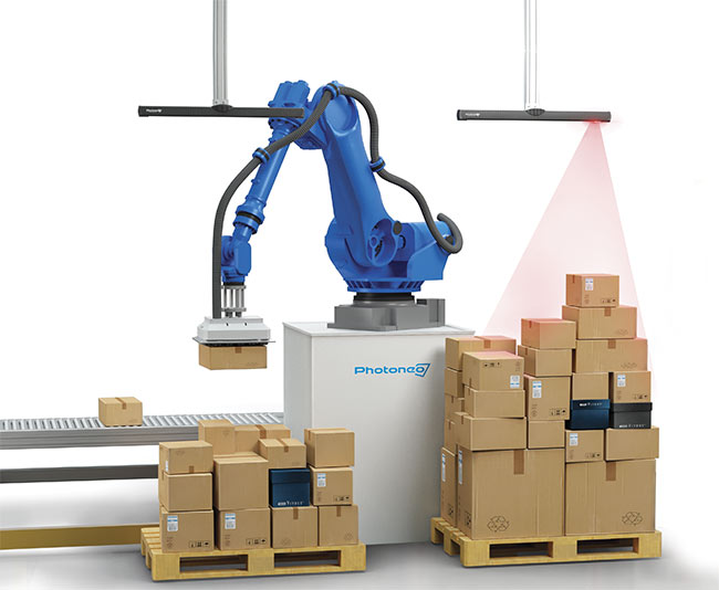 Some AI-powered depalletization systems are able to unload 1000 boxes in an hour. Courtesy of Photoneo.