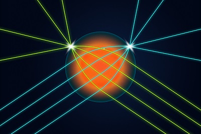 Illinois researchers developed a spherical lens that allows light coming into the lens from any direction to be focused into a very small spot on the surface of the lens exactly opposite the input direction. This is the first time such a lens has been made for visible light. Graphic Courtesy of University of Illinois News Bureau via Michael Vincent.