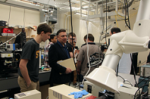 Students and faculty from Springfield Technical Community College visit an MIT lab before the Covid-19 pandemic. Courtesy of MIT via Adu Agarwal.