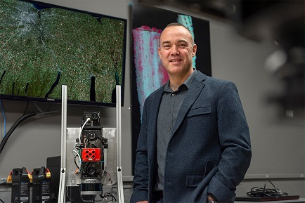 Jan Van Aardt from the Chester F. Carlson Center for Imaging Science received a $194,000 award from the National Geospatial-Intelligence Agency and a $197,000 award from NASA for two new projects to improve the way waveform lidar can be used to study forests. Courtesy of Elizabeth Lamark, RIT.