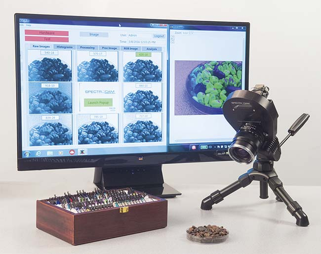 Figure 3. In a lab setting, a multispectral camera detects adulterants in coffee beans. Customized multispectral imaging cameras can be integrated into process instrumentation. Courtesy of Ocean Insight.