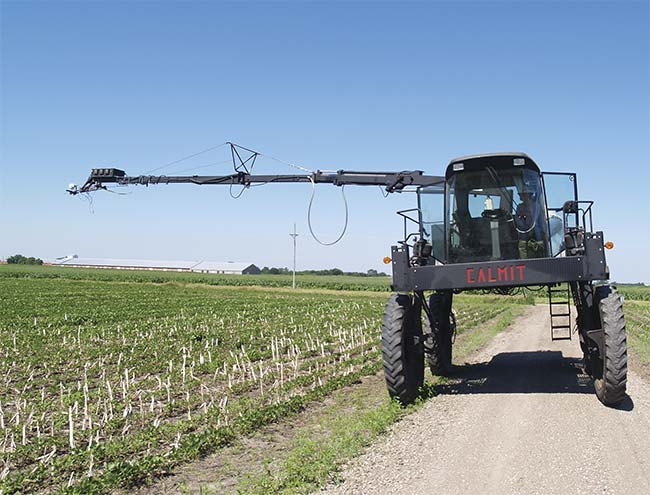 Spectrometers mounted on a tractor measure soybeans and wirelessly transmit data to the operator in the cab. Optical sensing instruments are routinely deployed in the field. Courtesy of Anthony Nguy-Robertson.