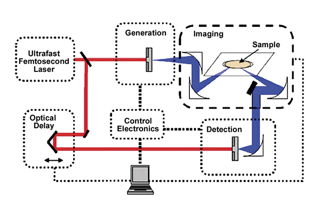 Figure 1. A schematic of a terahertz time-domain spectrometer setup. Courtesy of TeraView Ltd.