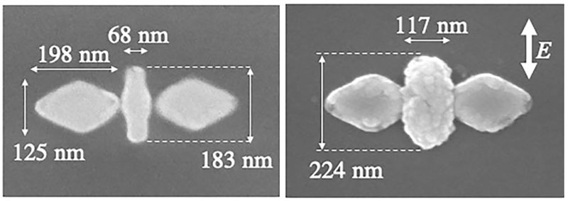 Scanning electron microscope (SEM) images of the nano-butterfly structure before (left) and after (right) laser irradiation. Semiconductor zinc oxide has crystalized on the surface of the gold nanorod. Courtesy of Fujiwara H., et al, Nano Letters. December 23, 2019. Hokkaido University.