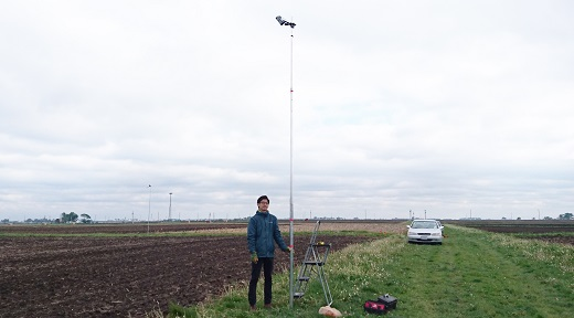 University of Illinois doctoral student Hyungsuk Kimm set up a network of cameras in corn fields around Illinois to ground-truth satellite-based algorithms to monitor corn productivity in real time. Courtesy of Hyungsuk Kimm, University of Illinois.