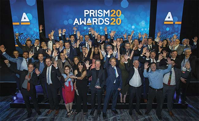 The 2020 Prism Award winners gather for a celebratory photo after the gala. Courtesy of Joey Cobbs Photography.
