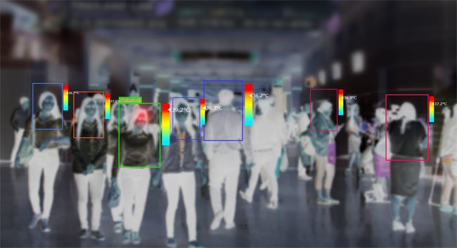 Thermal imaging sensors are analyzed in real time by Amorph and VANTIQ to alert airport officials if visitors are running a fever. Courtesy of VANTIQ.