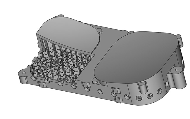Figure 3. A double-mirror substrate with internal structures designed for additive manufacturing techniques. Special holes in the walls of the cells are included for powder removal. Courtesy of Reference 2.