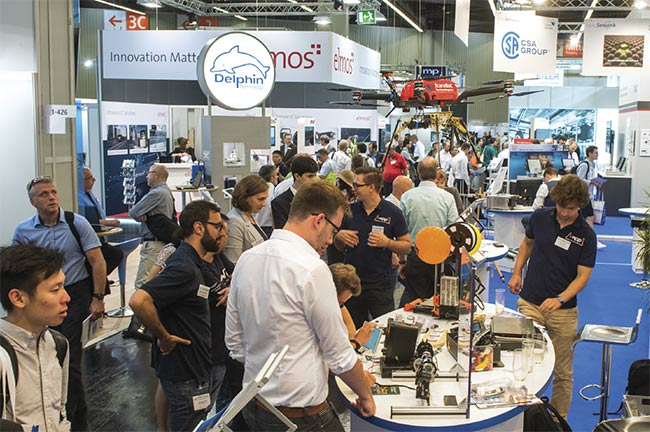 SENSOR+TEST attendees mill among numerous industry exhibitors in 2019. The 2020 event has been canceled. The next trade fair will take place May 4-6, 2021. Courtesy of AMA Service GmbH.