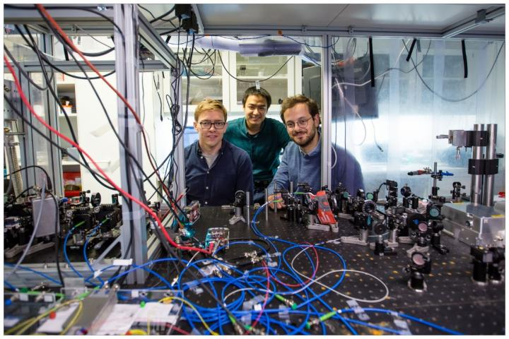 From left: David Mason, Junxin Chen, and Massimiliano Rossi from the quantum optomechanics group at the Neils Bohr Institute. Courtesy of Ola Joensen.