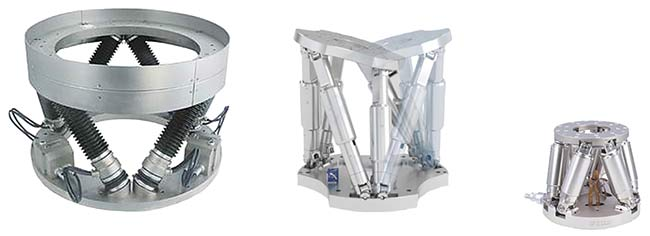 Figure 2. Hexapods vary in design and size. A large hexapod for astronomical telescopes has a 600-mm platform diameter and a 200-kg load capacity (left); a midsize hexapod (center) has a 300-mm platform diameter and a 50-kg load capacity; and a miniature hexapod (right) has a 100-mm platform diameter and a 5-kg load capacity. Courtesy of PI.