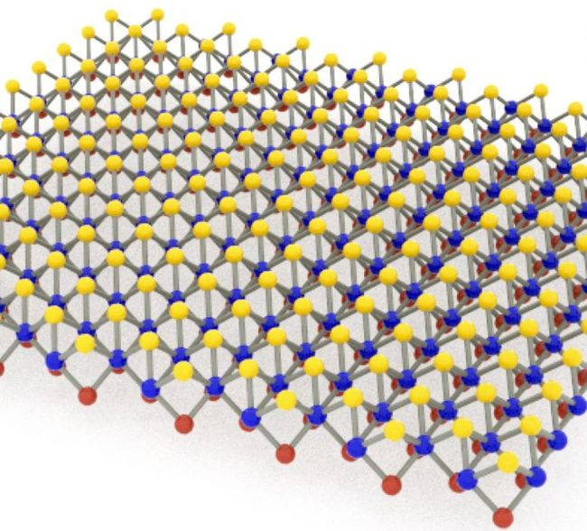 Monolayer Janus MoSSe, a compound of molybdenum, sulfur, and selenium developed at Rice University, is adept at detecting biomolecules via surface-enhanced Raman spectroscopy. Its nonmetallic nature helps by curtailing background noise in the signal. Courtesy of Lou Group/Rice University.