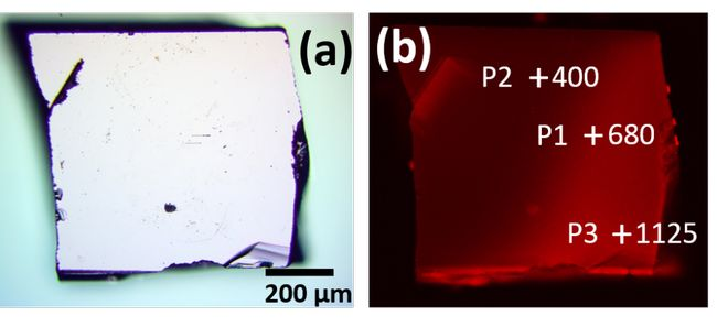 "Figure 2. PL-mapping of a BAs sample. An optical image (a) and the PL-mapping (b), The selected spots P1-3 are marked by ""+"" along with their ? measured with time-domain thermo-photoluminescence, the unit is W/m·K."