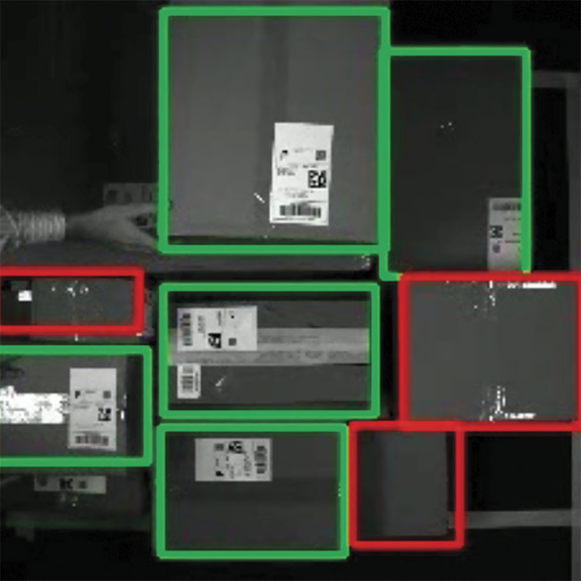 Using a camera, a vision system detects and identifies boxes. Courtesy of ADLINK.