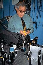 Dr. Ali Javan in one of his laser laboratories at Massachusetts Institute of Technology, April 1996. Courtesy of Betty Blair.