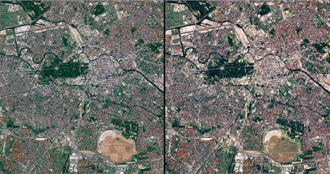 A view of Berlin from Sentinel-2 at the highest resolution achievable with the visible bands of the MSI (10 m) (left). In comparison, the same location can be seen from the U.S. Landsat-8's OLI instrument (30 m) (right). Images contain modified Copernicus Sentinel data (2017-2019). Courtesy of ESA.