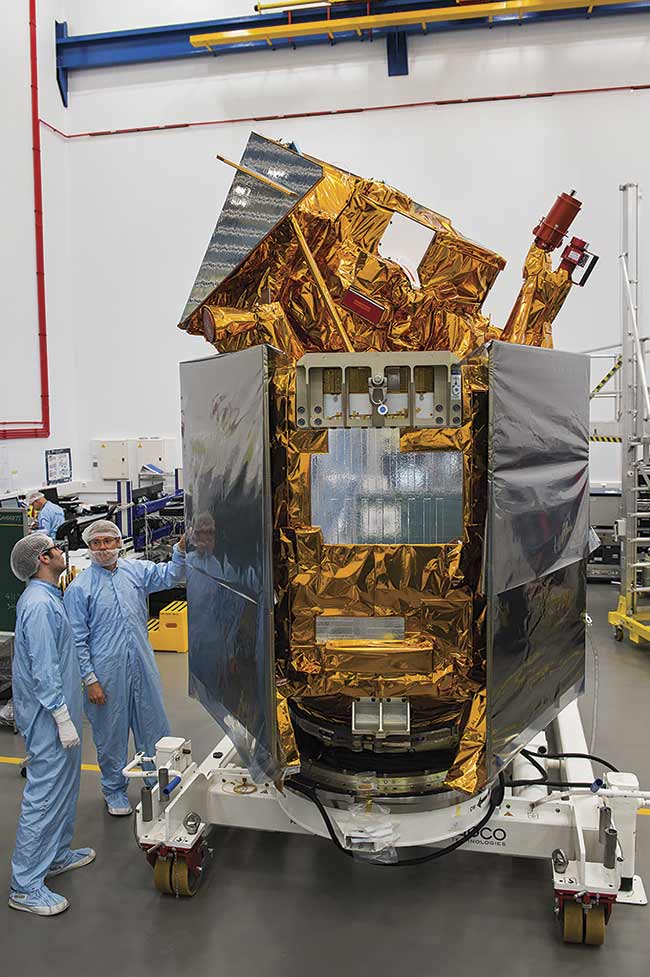 The Airbus-built Sentinel-5P satellite in one of Airbus' cleanrooms in Stevenage, England. Courtesy of Airbus/Max Alexander.