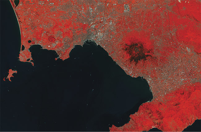 The near-infrared band from the multispectral instrument (MSI) of Sentinel-2 reveals the status of vegetation (in various tones of red) and also reveals burned areas (lack of vegetation, in black). Courtesy of USGS/ESA.