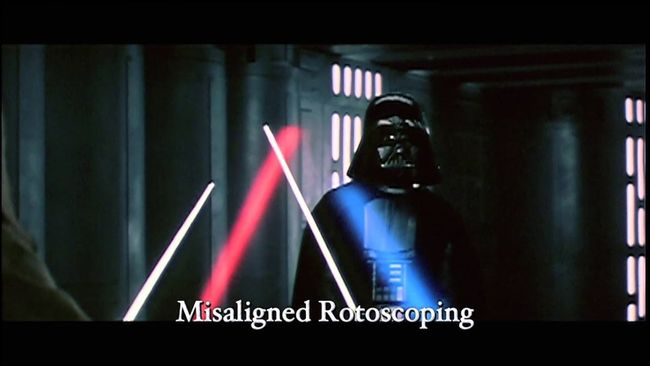 Laser animations were added to the lightsabers and other laser weapons in Star Wars using a technique called rotoscoping. Courtesy of LucasFilms and 20th Century Fox.