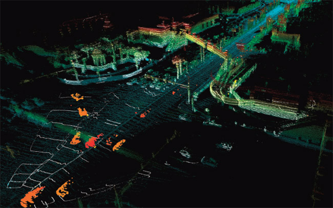 A lidar map from self-driving technology startup Aurora, which acquired Blackmore Sensors and Analytics in 2019. After being spun out from Bridger Photonics, Blackmore received Department of Defense seed funding under the SBIR and STTR programs. Venture capital funding, such as investments from Next Frontier Capital and Millennium Technology Value Partners in 2016, helped Blackmore to enter the autonomous vehicle market. Courtesy of Aurora.