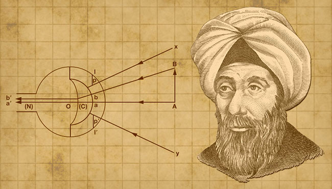Ibn al-Haytham is the first to accurately describe the process of human vision. Al-Haytham courtesy of Wikimedia Commons. Background courtesy of pixabay/geralt-9301.