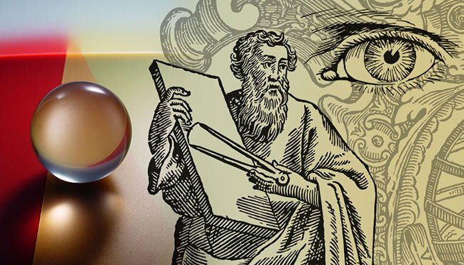 Euclid's Optics is the first known text that examines vision from a mathematical perspective. Sphere courtesy of iStock.com/DanBrandenburg. Euclid courtesy of pixabay/gdj-1086657. Eye courtesy of pixabay/openclipart-vectors-30363.