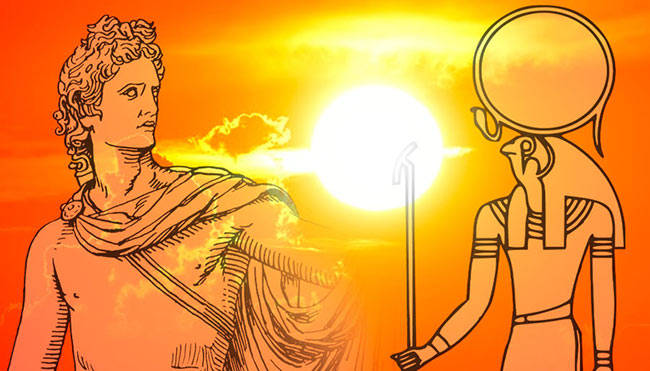 Ancient civilizations built temples and worshipped deities associated with light and the sun. Sunset courtesy of pixabay/alexas_fotos-686414. Ra courtesy of pixabay/clker-free-vector-images-3736. Apollo courtesy of pixabay/openclipart-vectors-30363.