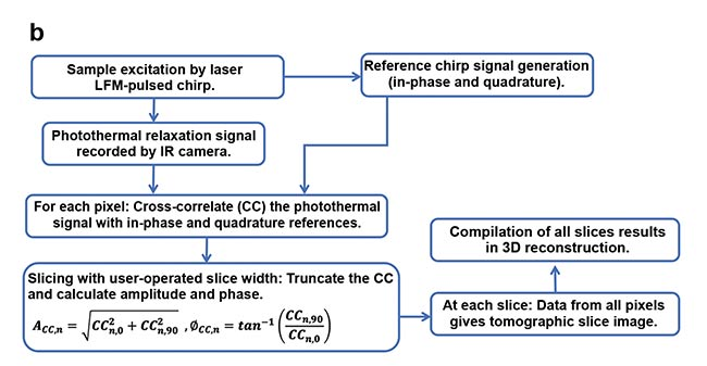 Figure 1. eTC-PCT (enhanced truncated-correlation photothermal coherence tomography) system configuration (a). Reconstruction algorithm (b). LFM: linear frequency modulation. Courtesy of University of Toronto.